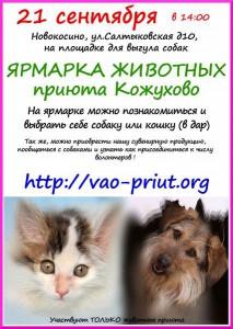 21 сентября в 14.00 состоится ярмарка животных приюта Кожухово.